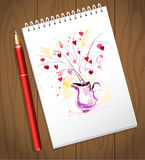 Watercolor artistic valentine day heart bouquet illustration. Red color hand drawn love card mock up. Good for love card, valentine day congratulation design Royalty Free Stock Photos