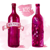 Watercolor artistic wine bottle Stock Images