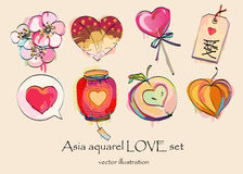Watercolor asia love set for Valentine's Day. Watercolor  set for Valentine's Day with asias simbol of love Royalty Free Stock Photography