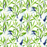 Watercolor asian crane bird seamless pattern Royalty Free Stock Photo