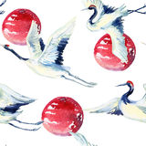 Watercolor asian crane bird seamless pattern Stock Photo