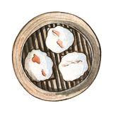 Watercolor asian food dim sum, top view. Watercolor asian food dim sum. Delicious char siu bao in bamboo steamer on white background. Hand drawn isolated box Royalty Free Stock Photos
