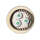 Watercolor dim sum. Watercolor asian food dim sum. Delicious chinese dish in bamboo steamer on white background. Hand drawn isolated box with tasty oriental food Royalty Free Stock Images