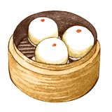 Watercolor asian food dim sum. Delicious lotus seed paste bun in bamboo steamer on white background. Isolated box with tasty chinese sweet bun in it Stock Images