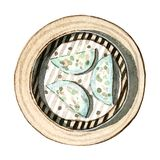 Watercolor asian food dim sum, prawn and chive dumplings, top view. Watercolor tasty asian food dim sum. Delicious chinese prawn and chive dumplings in bamboo Royalty Free Stock Image