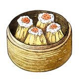 Watercolor asian food dim sum. Watercolor asian food siew mai. Delicious chinese food dim sum, isolated bamboo steamer box on white background. Hand drawn tasty Stock Image