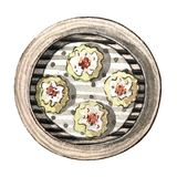 Watercolor asian food dim sum, siew mai, top view. Watercolor tasty asian food dim sum. Delicious chinese siew mai in bamboo steamer on white background. Hand Royalty Free Stock Photo