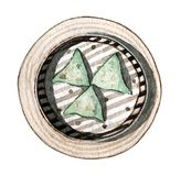 Watercolor asian food dim sum, top view. Watercolor asian food dim sum. Delicious chinese dumplings in bamboo steamer on white background. Hand drawn isolated Royalty Free Stock Photography