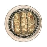 Watercolor asian food dim sum, top view. Watercolor tasty asian food dim sum. Delicious chinese food in bamboo steamer on white background. Hand drawn isolated Stock Images