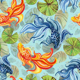 Watercolor asian goldfishes Royalty Free Stock Images