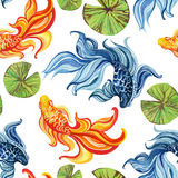 Watercolor asian goldfishes Royalty Free Stock Photos