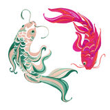 Watercolor asian koi isolated on white background Stock Image