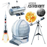Watercolor astronomy collection. Isolated on white background stock illustration