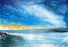 Watercolor Aurora landscape Royalty Free Stock Image