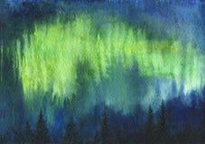 Watercolor aurora polaris. Polar Lights and fir trees silhouettes, hand drawn illustration Stock Photos