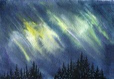 Watercolor aurora polaris. Polar Lights and fir trees silhouettes, hand drawn illustration Stock Photo