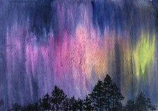 Watercolor aurora polaris. Polar Lights and pine trees silhouettes, hand drawn illustration Royalty Free Stock Image