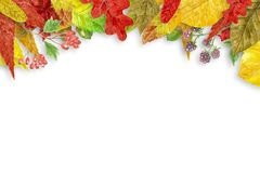 Watercolor autumn background Stock Photo