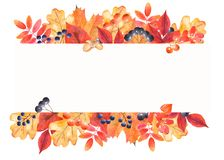 Watercolor autumn banner with colorful leaves and berries. stock illustration