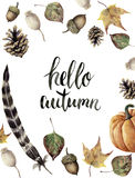 Watercolor autumn border with hello autumn lettering. Hand painted pine cone, acorn, berry, yellow and green fall leaves, feather Stock Image
