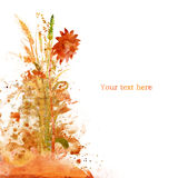 Watercolor autumn card Stock Photography