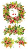 Watercolor autumn and christmas decoration stock images