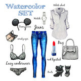 Watercolor autumn classic collection, fashion style, Items of clothing and accessories, jeans, shirt, bag, boots, watch, underwear Stock Photos