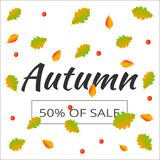 Watercolor autumn foliage vector sale banner Royalty Free Stock Image