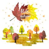 Watercolor autumn forest poster, banner. Colorful trees and leaves. Hello autumn lettering. Vector illustration Royalty Free Stock Image