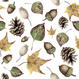 Watercolor autumn forest seamless pattern. Hand painted pine cone, acorn, berry and yellow and green fall leaves. Ornament isolated on white background Stock Photo