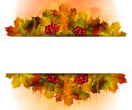Watercolor autumn frame background royalty free stock image