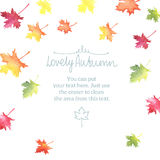 Watercolor autumn frame with colorful leaves Royalty Free Stock Image