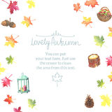 Watercolor autumn frame with colorful leaves Royalty Free Stock Images