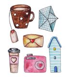 Watercolor autumn object illustration. Hadb drawing royalty free illustration