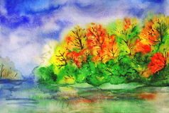 Watercolor autumn landscape. Forest and river. Royalty Free Stock Photos