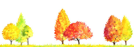 Watercolor autumn landscape with trees Stock Image