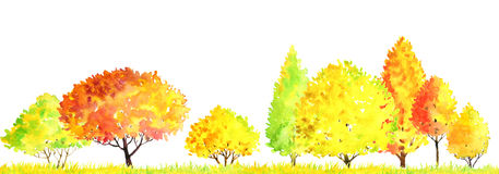 Watercolor autumn landscape with trees Royalty Free Stock Images