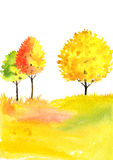 Watercolor autumn landscape with trees Royalty Free Stock Photo