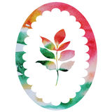Watercolor autumn leaf in frame isolate vector Stock Images
