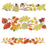 Watercolor autumn leaves,acorn border set Stock Photos