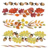 Watercolor autumn leaves,acorn border set. Vintage Watercolor autumn leaves,acorn border set .Hand drawing isolated objects on white background.For design Stock Photos
