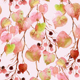 Watercolor autumn leaves, branches and berry seamless pattern. Linden leaves and berries branches seamless pattern on soft toned pink background. Hand painted Royalty Free Stock Photography