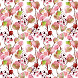 Watercolor autumn leaves, branches and berry seamless pattern. Linden leaves and berries branches seamless pattern on white background. Hand painted autumn vector illustration