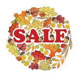 Watercolor autumn leaves,corn in circle.Sale Stock Image