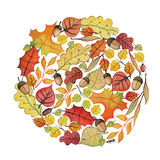 Watercolor autumn leaves,corn in circle Royalty Free Stock Images