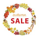 Watercolor autumn leaves,corn wreath.Sale template Royalty Free Stock Photography