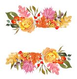 Watercolor autumn leaves and plants banner, isolated on white background. Fall floral border for cards, invitations. Watercolor autumn decorative border with royalty free illustration