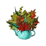 Watercolor autumn leaves in a pot vector illustration