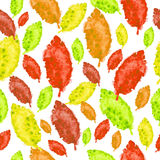 Watercolor autumn leaves, seamless pattern Stock Photos
