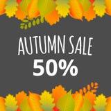 Watercolor autumn foliage vector sale banner Stock Photos